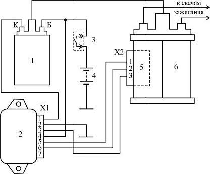 3 - контакты замка зажигания;